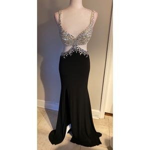 Jovani Evening Gown Black and Silver SZ 4
